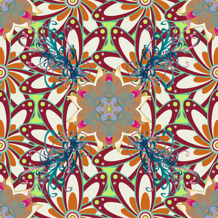 ethno: Motley vector illustration. Seamless exotic pattern with many tropical flowers. Blooming jungle. Illustration