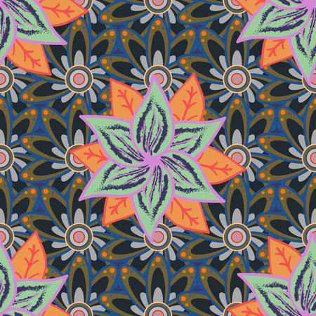 Vector flower illustration. Seamless pattern with floral motif. Seamless floral pattern with flowers, watercolor.