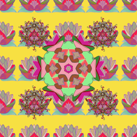 motley: Endless vector texture for romantic design, decoration, greeting cards, posters, wrapping, for textile print and fabric. Floral seamless pattern with bright summer flowers in colors.