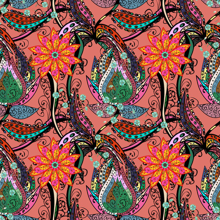 motley: Vector abstract flower background. Pretty floral print with small flowers. Motley seamless pattern. Illustration