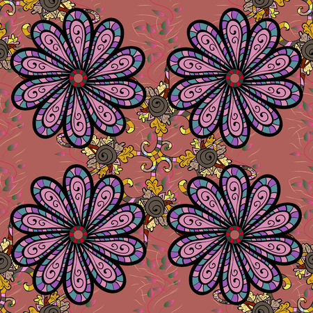 Vector illustration of flowers. Seamless pattern with flowers on motley background. Иллюстрация