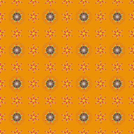Presentation with mandala. Colored layout on orange background. Modern vector template for brochure leaflet flyer cover catalog magazine or annual report. Science and technology design layout. Illustration