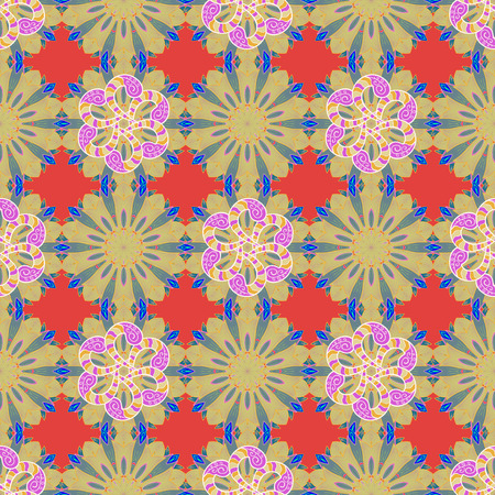 motley: Abstract ethnic vector seamless pattern. Tribal art boho print, vintage flower background. Background texture, sketch, floral theme in colors.