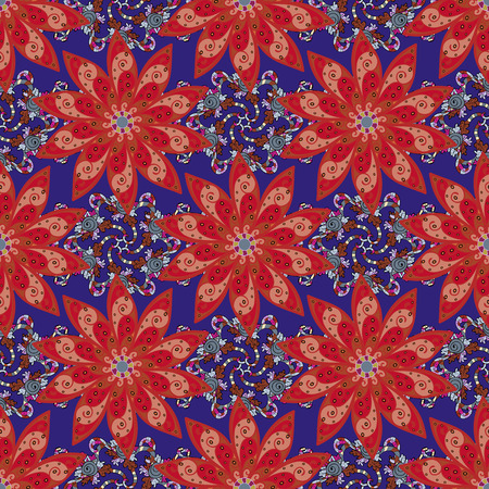 motley: Motley vector illustration. Seamless exotic pattern with many tropical flowers. Blooming jungle. Illustration