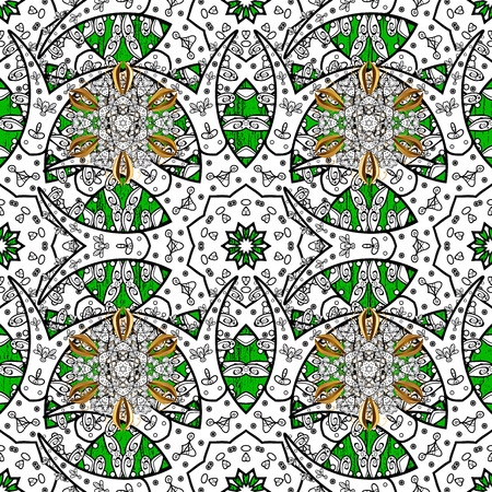 foliate: Winter snow texture sketch. White snowflakes on green and white background. Symbol holiday, New Year celebration vector white pattern with golden elements. Christmas snowflake pattern.