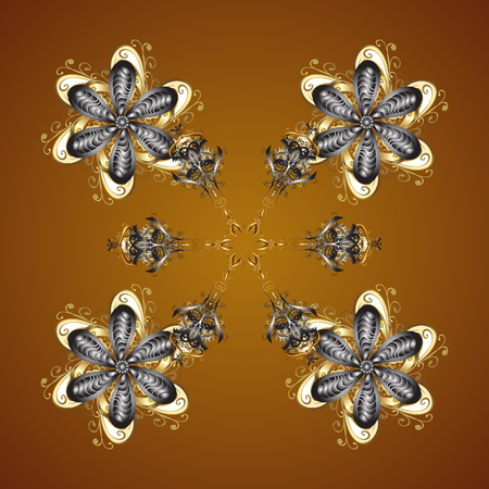 Abstract minimal seamless pattern background. Vector snowflakes on a brown background.