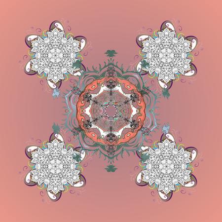 Simple snowflakes ornamental pattern, floral elements, decorative ornament. Ornamental pattern on colorfil background. Arab, Asian, ottoman motifs. Vector illustration. Illustration