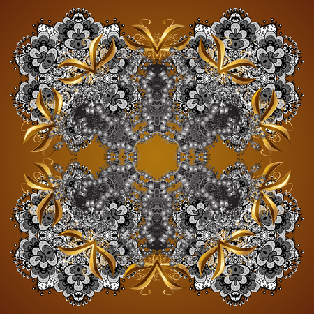 Christmas frame with abstract snowflakes and dots on brown background. Vector illustration. Snowflake frame.