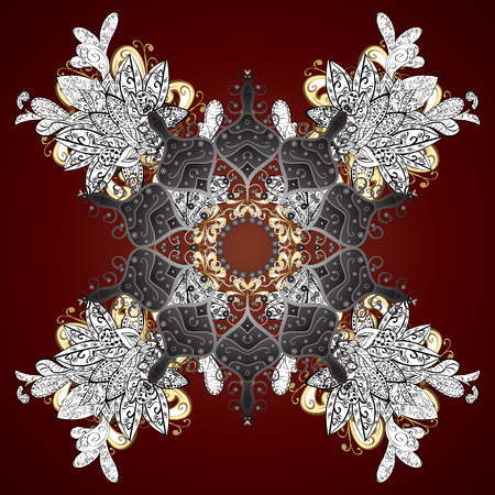 Hand painted pattern. Vector with abstract hand drawn snowflakes design on a brown background.