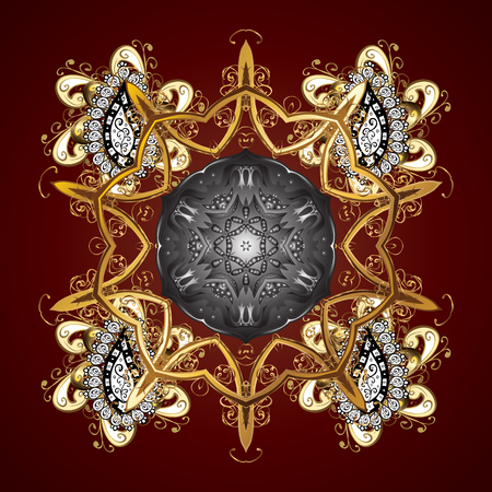 the sacral: Design on brown background. Abstract with Floral Elements. Vector winter pattern. Illustration