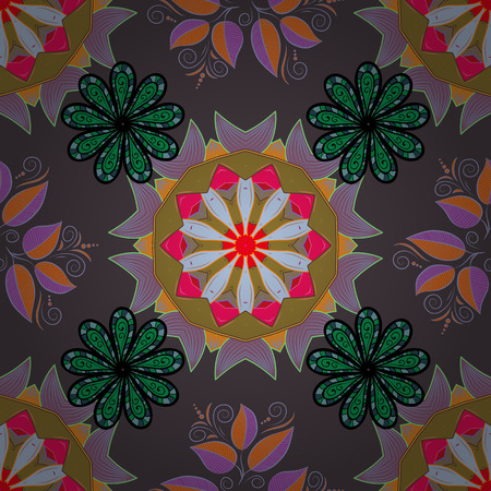 motley: Vector seamless colorful floral pattern. Hand drawn floral texture, pink decorative flowers.