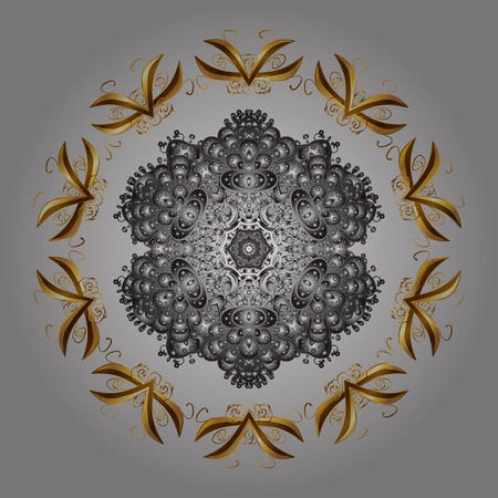 Can be used for textile, parer, scrapbooking, wrapping, web and print design. Vector Winter on a gray Background with Snowflakes and dots.