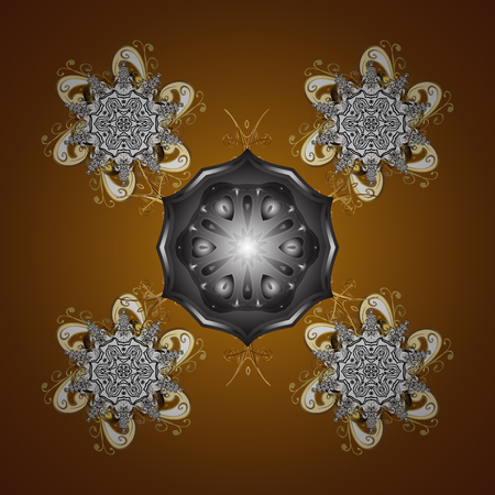 Vector illustration. Snowflake frame. Christmas frame with abstract snowflakes and dots on brown background. Illustration