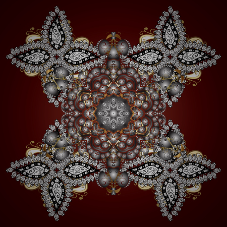 Vector golden snowflakes winter New Year frame. On brown background.