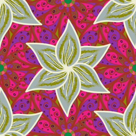 Vector illustration. Seamless decorative background, flower mandala. Flower. On colored background. Illustration