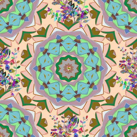kundalini: Vector illustration. Abstract Mandala on a colored background.