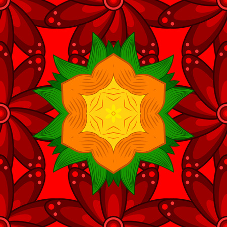 trendy tissue: Red. Can be used for sketch, web page. Vector ornate seamless texture, pattern with abstract floral mandalas on red background. Summer seamless pattern with stylized flowers.