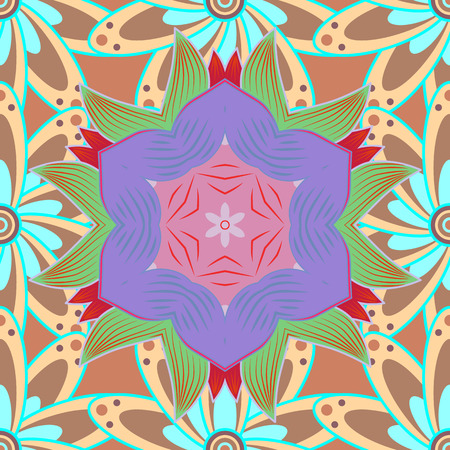 Seamless pattern. Vector illustration. Organic motif background. Ultrafashionable fabric pattern.