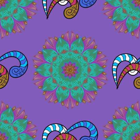 joyfulness: Indian ornament. Floral sketch. Colorful ornamental border. Vector illustration. On colored background. Seamless pattern. Illustration