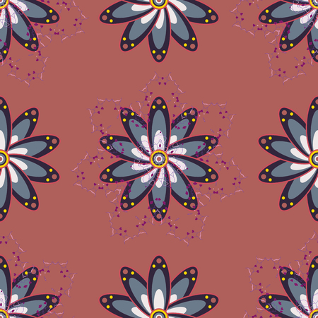 motley: Pattern with spring flowers with branch, on colored background with flower silhouette. Vector pattern.