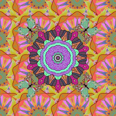elaborate: Vector Ethnic Oriental Circle Ornament. Islam, Arabic, Indian, ottoman motifs on a colored background. Flower Mandala seamless pattern.
