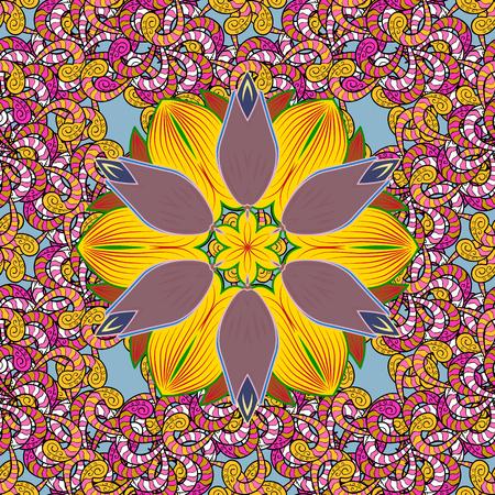 カラフルな背景の花。ベクトル図のシームレス花柄