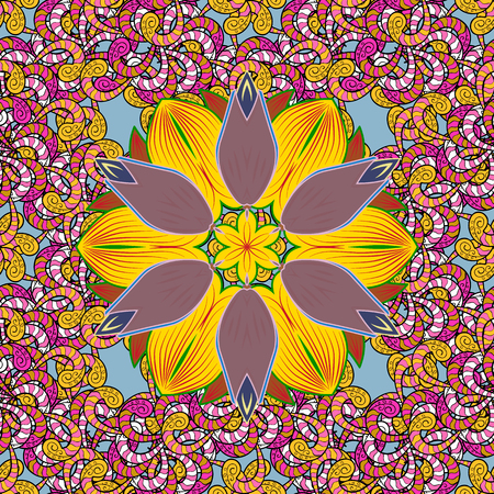 Flowers on colorful background. Seamless Floral Pattern in Vector illustration.