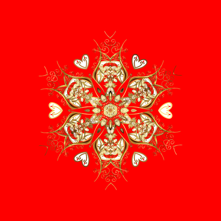 Vector christmas abstract design on red background with falling gold snowflakes. Snowflakes pattern. Illustration
