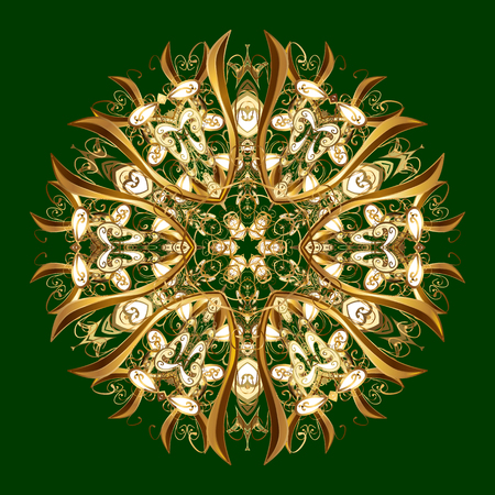 Vector design. Christmas Stylized Golden snowflakes on a green Background. Repeating Pattern.