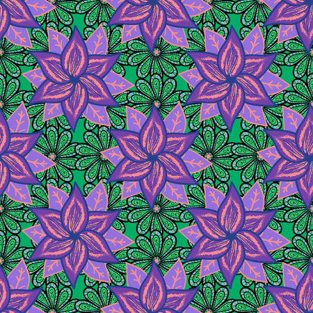 Flat Flower Elements Design. Colour Spring Theme seamless pattern Background. Flowers on colorful background. Floral seamless pattern background, summer flowers. Illustration