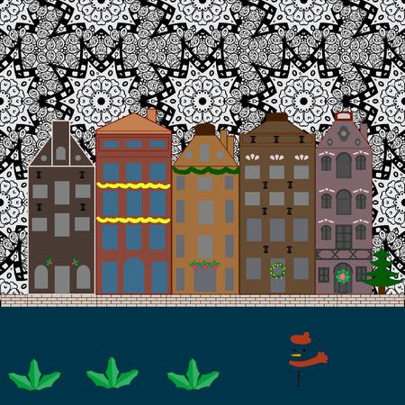Vector illustration. Night vector Winter, Christmas urban landscape.