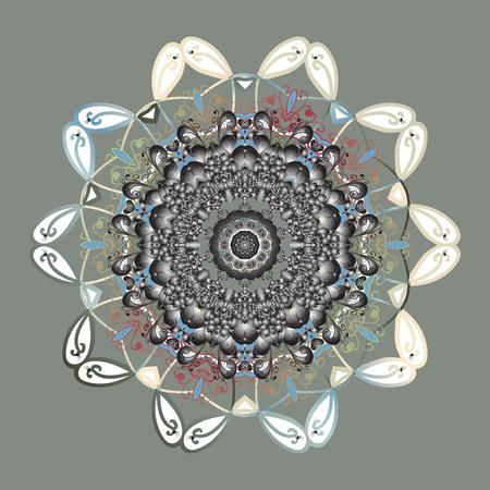 winter garden: Simple snowflakes ornamental pattern, floral elements, decorative ornament. Arab, Asian, ottoman motifs in colors. Vector illustration. Ornamental pattern on colorful background.