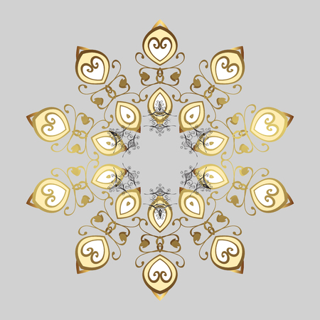 Vector winter illustration in colors. Hand drawn abstract golden snowflakes ornamental. Template for cover, poster, t-shirt or fabric. Illustration