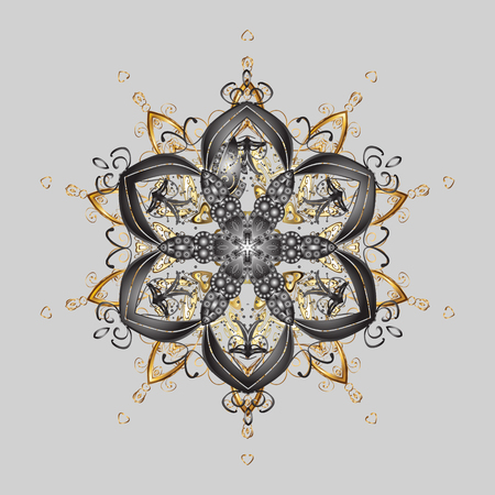 Golden snowflake vector design in colors. Ornamental pattern. Snow flakes background. Vector illustration. Illustration