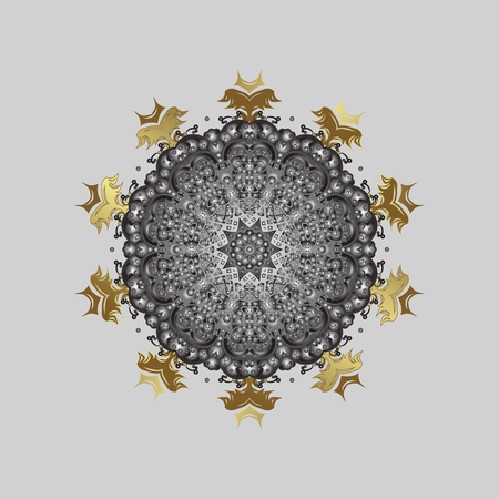 Vector christmas abstract black background with falling golden snowflakes. Snowflakes pattern in colors.