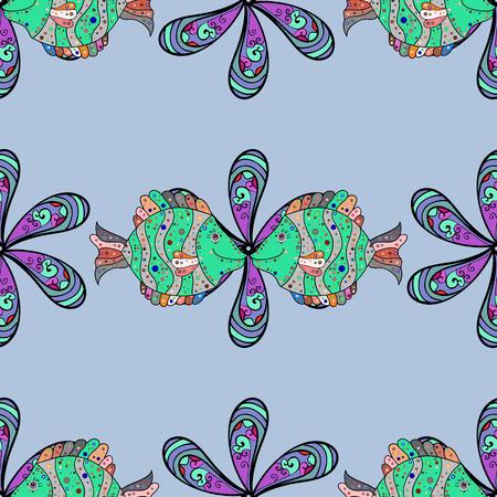 Vector illustration. Sketch - fishes pattern. Tropical fish, sea fish, aquarium fish on blue background.