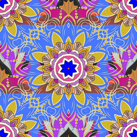 thai motifs: East, Islam, Thai, Indian, ottoman motifs. Orient, symmetry lace, meditation symbol. Vector Mandala colored on a blue background. Arabic Vintage decorative ornament. Mandala pattern. Ethnic texture.