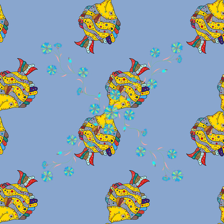 Luxury drawn pattern with fishes. Seamless marine background. Cute fabric texture on colored background. Illustration