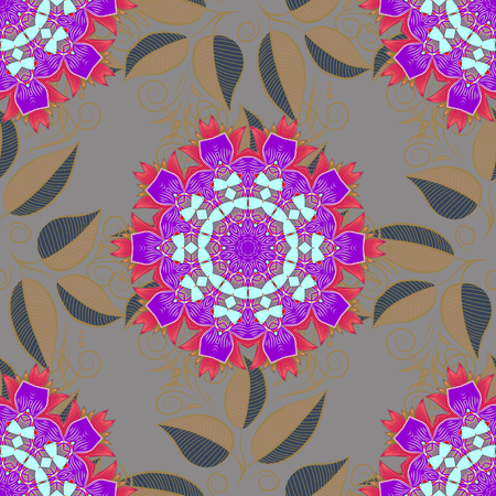 motley: Vector illustration of pink leaves. Seamless pattern with leaves on motley background.