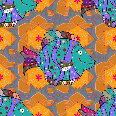 swanky: Illustration. On colored background with flowers. Fish seamless pattern for fabric textile design, pillows, sketchs, cloth, bags, scrapbook paper. Illustration