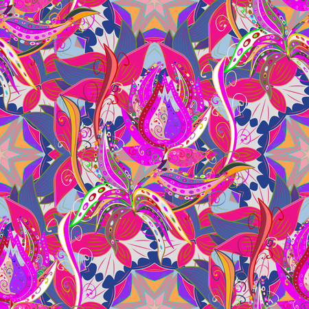 Floral seamless pattern with bright summer flowers in colors. Endless vector texture for romantic design, decoration, greeting cards, posters, wrapping, for textile print and fabric.