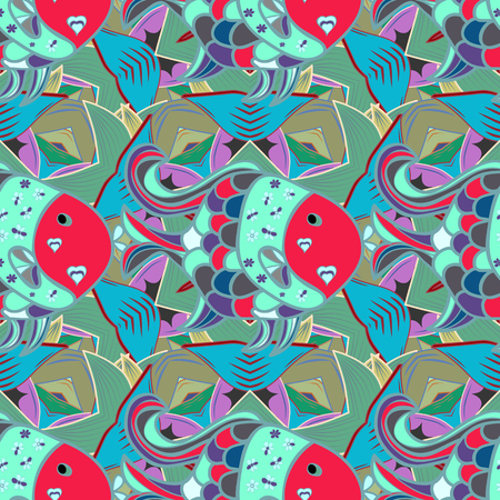 Vector background with fishes and flower petals, seamless pattern. Sea fishes on colored background.