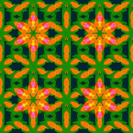 Uitstekend vector bloemen naadloos patroon in kleuren.