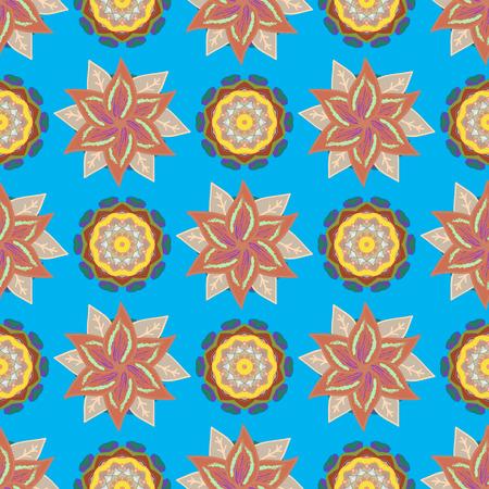 kundalini: Seamless pattern mehndi floral lace of buta decoration items on colorfil background. Vector floral wedding decorative elements. Illustration