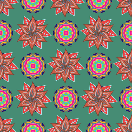 motley: Hand drawn floral texture, decorative flowers. Vector seamless colorful floral pattern.