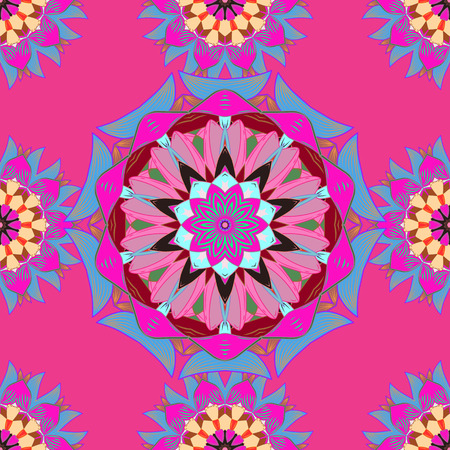jewerly: Hand-drawn vector mandala with colored abstract pattern on a colorful background. Bag design.