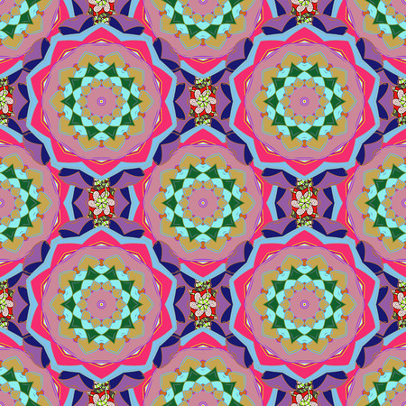 motley: Seamless pattern abstract floral background. Vector sketch of many abstract flowers in pink colors. Hand drawn seamless flower illustration.