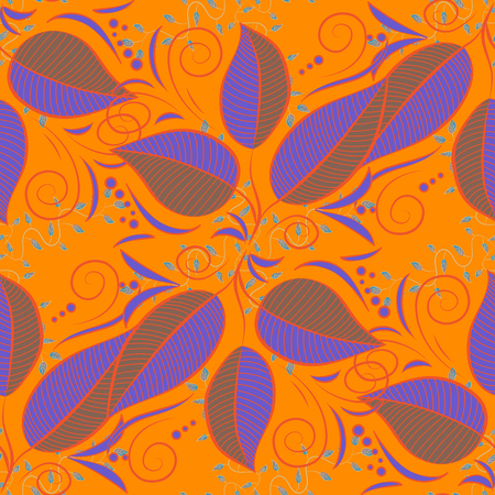 Cute Floral pattern in the small leaf. Leaves on colorful background.