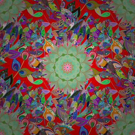 Vector colored Mandala. Ornament invitation card Vintage decorative elements on a colored background. Tribal, Boho, Bohemian style, for flash tattoo. Illustration