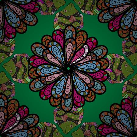 Glod の色で幾何学的な円の要素。イスラム教の精神的な儀式のシンボル アラビア語、インドの宗教。カラフルな背景のマンダラ。ベクター飾りパタ